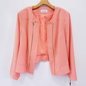 Calvin Klein Coral Peach Open Front Blazer